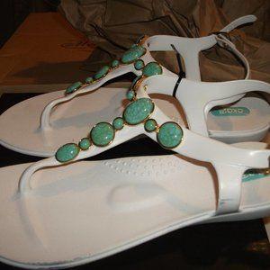Oka B Isla sandals in salt with turquoise